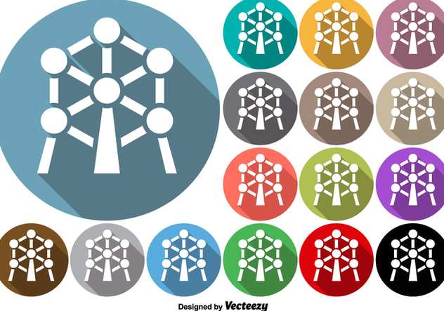 Set Of Rounded Buttons Of Atomium Monument Icon - Free vector #378209
