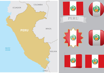 Peru Map And Flags - Kostenloses vector #378239