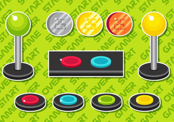 Arcade Button Vector Elements Set B - vector gratuit #378509