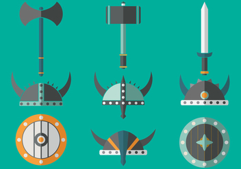 Viking Barbarian Flat icons - vector gratuit #378609