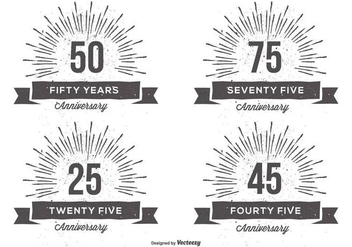 Retro Anniversry Label Set - vector gratuit #378689