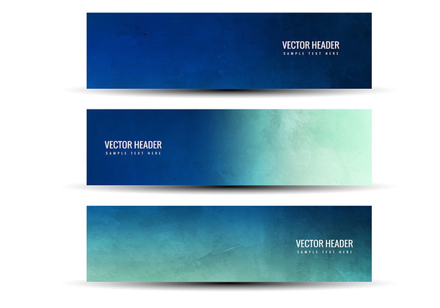 Free Vector Blue Green Abstract Headers - Free vector #378899