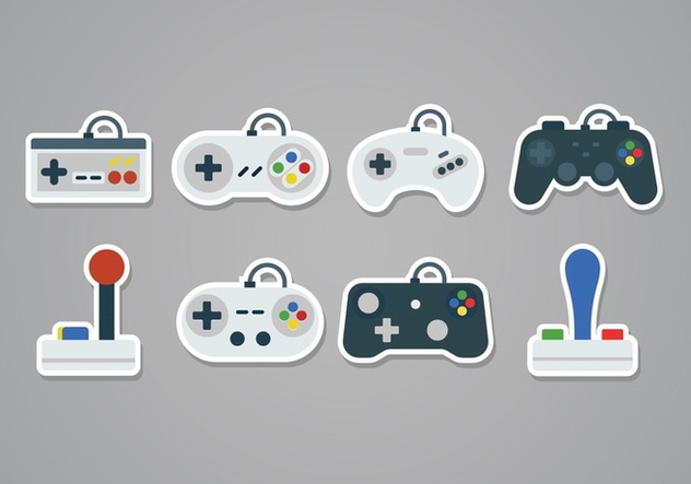 Free Gaming Joystick Sticker Icons - vector #378909 gratis