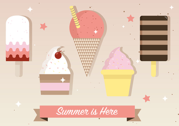 Free Flat Ice Cream Vector Illustration - vector gratuit #379129