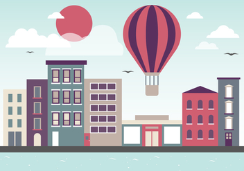 Free Flat Cityscape Vector Illustration - Free vector #379169