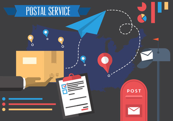 Vector Illustration of Postal Service - vector gratuit #379239