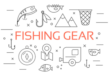 Vector Set of Fishing Tools - Free vector #379249