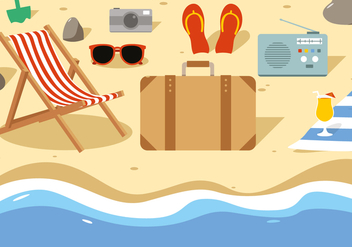 Free Summer Beach Vector Illustration - Free vector #379279