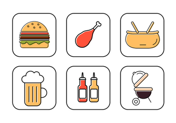 Vector Set of Icons for Family Picnic - бесплатный vector #379349