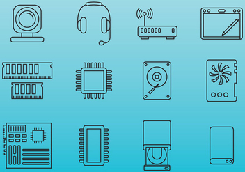 Computer Parts Icons - vector #379599 gratis
