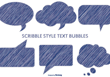 Pen Scribble Style Text Bubbles - Kostenloses vector #379629