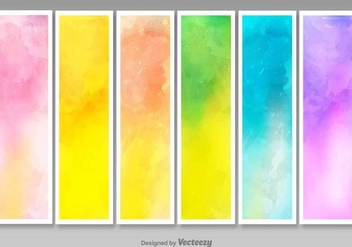 Vector Blank Watercolored Banners - Set of 6 - vector gratuit #379669