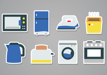 Free Home Appliances Sticker Icons - vector gratuit #379709