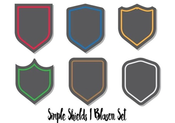 Blason Shield Vector Set Flat - Free vector #379759