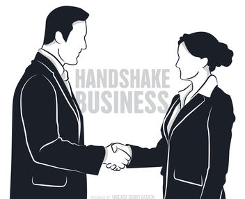 Man and woman shaking hands - vector gratuit #379829