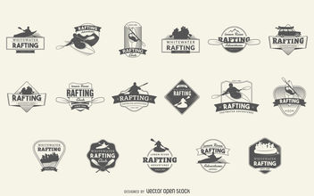 Rafting logo badge set - vector gratuit #379879