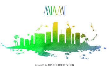 Miami watercolor skyline - vector gratuit #379919