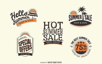 Hipster summer sale labels - бесплатный vector #379929