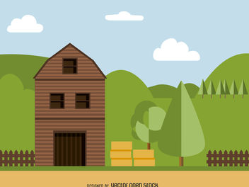 Flat barn illustration - vector gratuit #379989