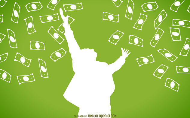 Falling cash with man silhouette - Free vector #380139