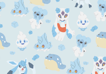 Ice Type Pokemon Pattern - vector gratuit #380329
