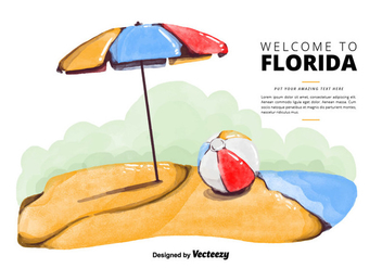 Free Florida Beach Watercolor Vector - vector gratuit #380649
