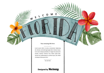 Free Florida Welcome Watercolor Vector - vector gratuit #381069