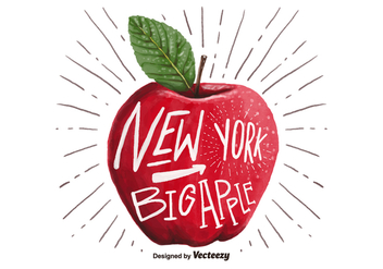 Free New York Big Apple Watercolor Vector - Free vector #381169