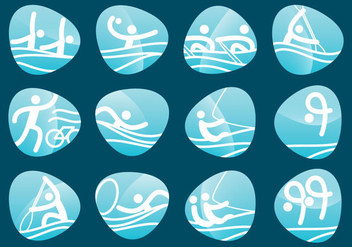Water Sport Olympic Pictograms - vector gratuit #381239
