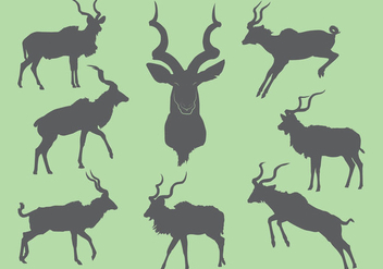 Free Kudu Silhouette Icons - Free vector #381279