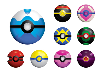 Pokemon Ball Set Vector - vector gratuit #381409