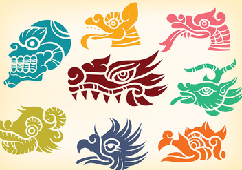 Decorative Quetzalcoatl Icons Vector - Free vector #381439