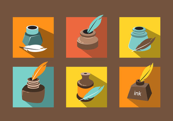 Various Ink Pot Vector - бесплатный vector #381499