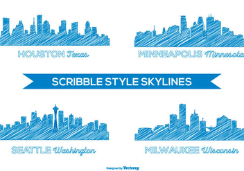 Scribble Style City Skylines - Free vector #381509