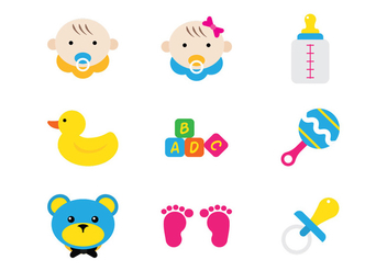 Baby Flat Icons - Free vector #381529
