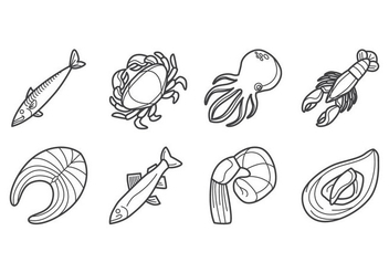 Free Raw Seafood Icon vector - Free vector #381549