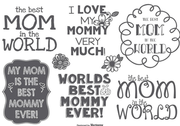 Best Mommy Hand Drawn Label Set - vector gratuit #381599