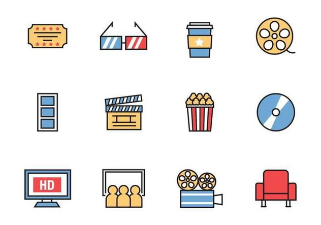 Free Cinema Icons Line Style Vector - vector gratuit #381619