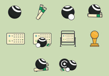 Lawn Bowls Icon Set - vector gratuit #381749