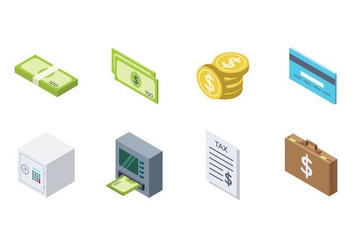 Free Isometric Money Icon - Kostenloses vector #381779