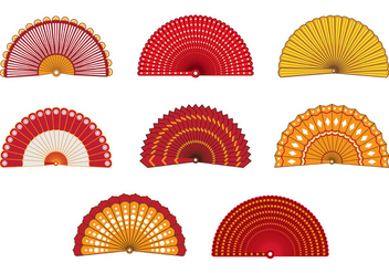Set Of Colorful Spanish Fan Vector - Free vector #381809