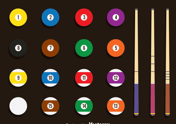 Pool Balls And Stick Vector Set - vector gratuit #382139