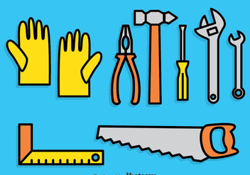 Work Tools Cartoon Icons Set - vector gratuit #382169