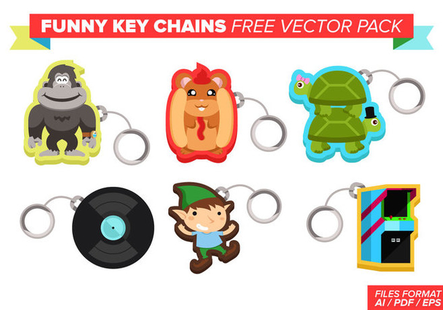 Funny Key Chains Free Vector Pack - Free vector #382199