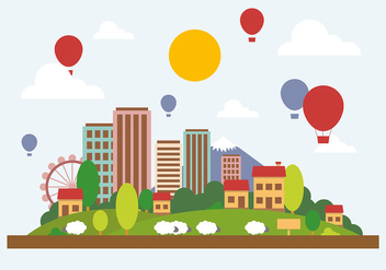 Free Flat City Landscape Vector Illustration - Kostenloses vector #382559