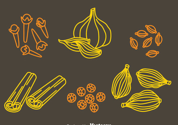 Herbs And Spices Hand Draw Icons Vector - бесплатный vector #382609