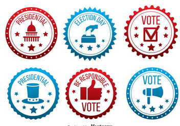 Red And Blue Presidential Election Badge Vector - vector gratuit #382619