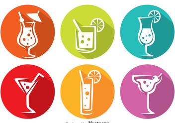 Colorful Cocktail Circle Icons - Free vector #382809