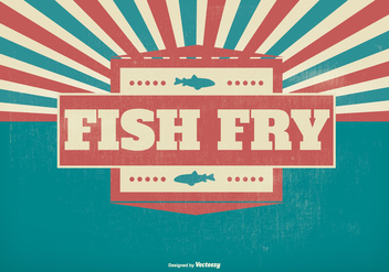 Fish Fry Retro Illustration - vector gratuit #383089