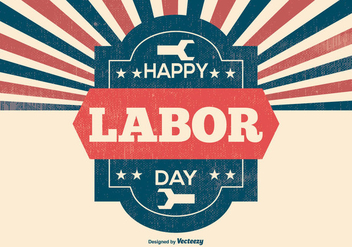 Retro Labor Day Illustration - vector gratuit #383129